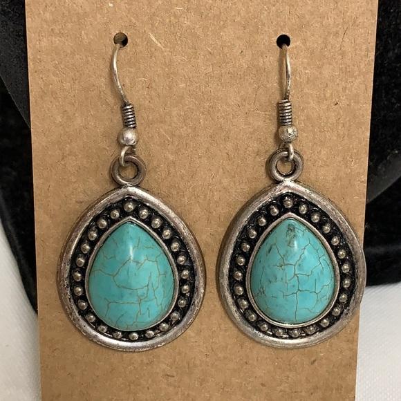 💐5/25 Southwest teardrop turquoise stone dangle